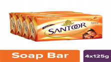 Santoor Sandal and Turmeric Soap (Pack of 4 soaps 125g each)